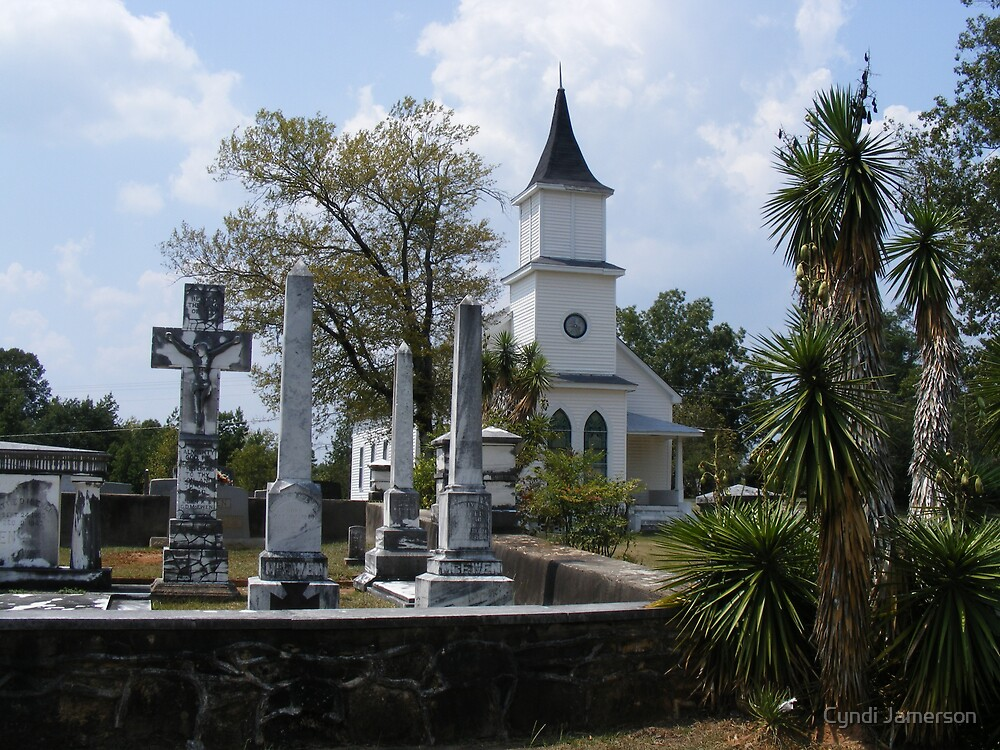 Old Southern Church and Graveyard by Cyndi Jamerson