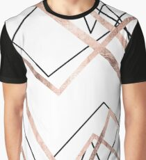 Rose Gold White Linear Triangle Abstract Pattern Graphic T-Shirt