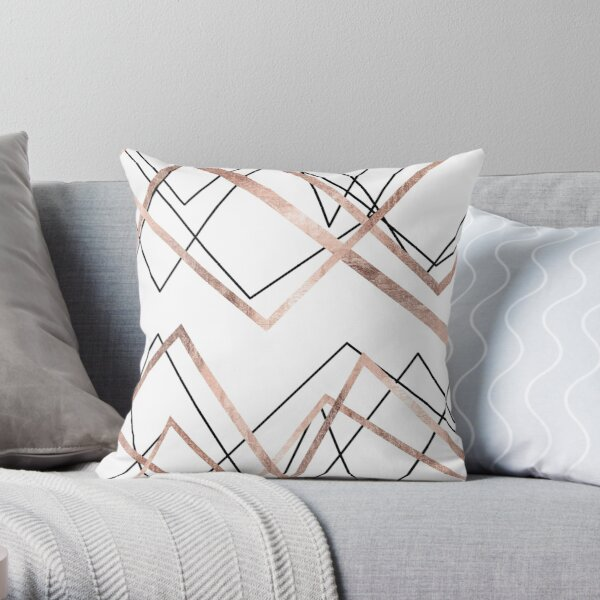 Rose Gold White Linear Triangle Abstract Pattern Throw Pillow