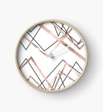 Rose Gold White Linear Triangle Abstract Pattern Clock