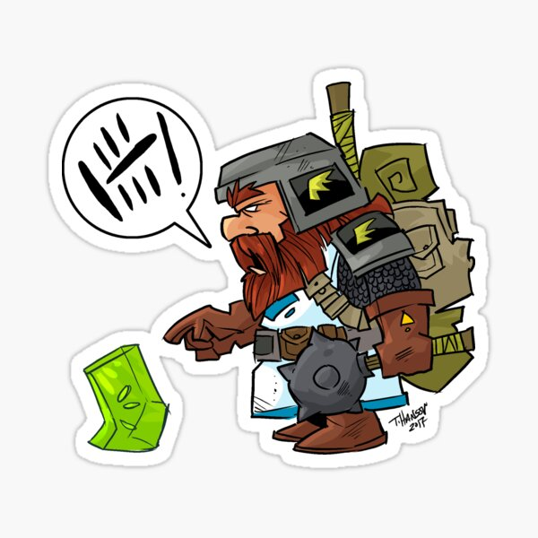 A dwarf and his cube Sticker
