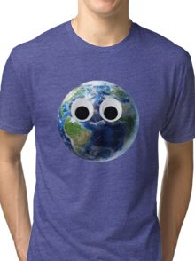 Earth with Googly eyes Tri-blend T-Shirt