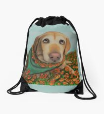 Labrador California Poppy Art by CouchPetatoArt Drawstring Bag