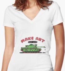 Make Art Not War Women's Fitted V-Neck T-Shirt