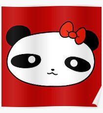 Bow Panda Face Poster