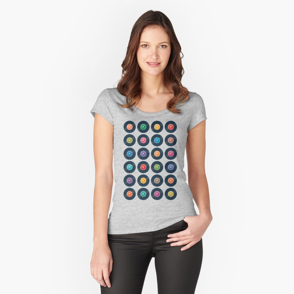 Vinyl Record Collection Fitted Scoop T-Shirt