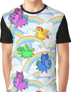 Lovely unicorns fly in the clouds and rainbows Graphic T-Shirt