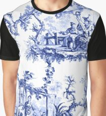 Blue Chinoiserie Toile Graphic T-Shirt