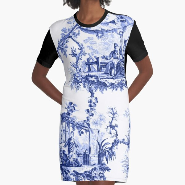 Blue Chinoiserie Toile Graphic T-Shirt Dress