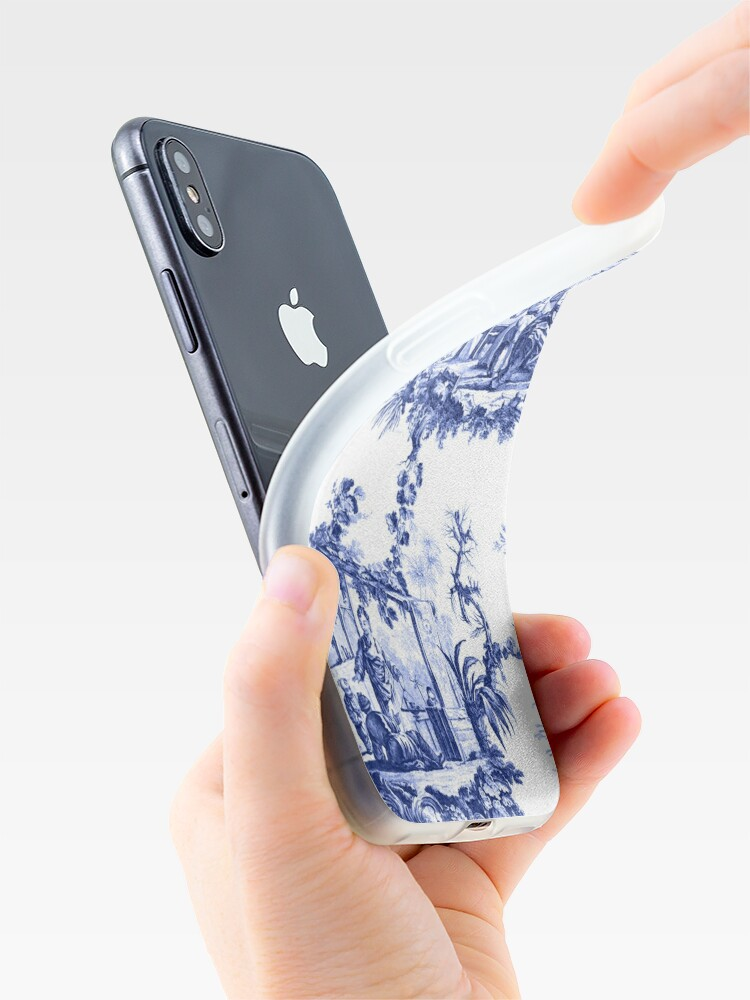 Alternate view of Blue Chinoiserie Toile iPhone Case & Cover