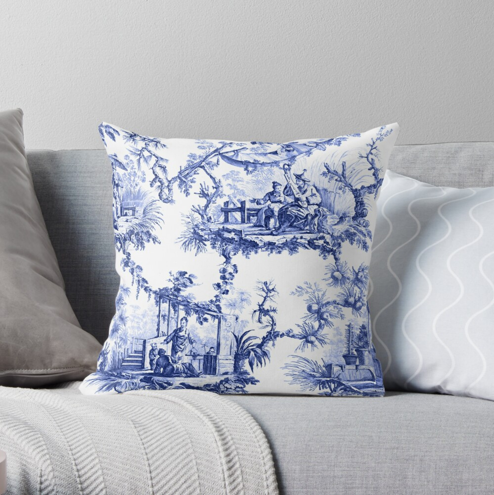 Blue Chinoiserie Toile Throw Pillow