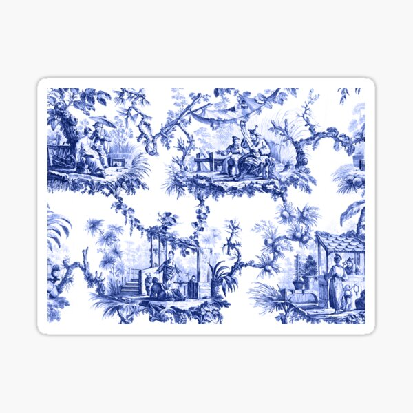 Blue Chinoiserie Toile Sticker