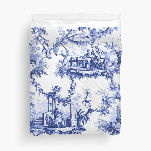 Blue Chinoiserie Toile Duvet Cover
