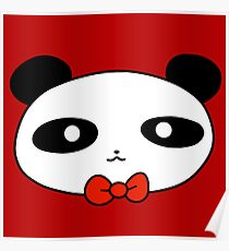 Bow Tie Panda Face Poster