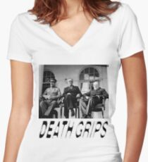 DEATH GRIPS STALIN F.D.ROOSEVELT CHURCHILL PARODY PCM MEMES Women's Fitted V-Neck T-Shirt