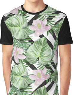Watercolor Exotic Leaves With Flowers Pattern Graphic T-Shirt