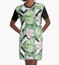 Watercolor Exotic Leaves With Flowers Pattern Graphic T-Shirt Dress