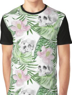 Watercolor Exotic Leaves With Flowers And Skull Pattern Graphic T-Shirt
