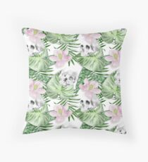 Watercolor Exotic Leaves With Flowers And Skull Pattern Throw Pillow