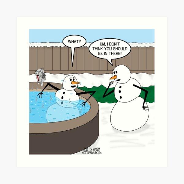 Snowman in a Hot Tub Art Print