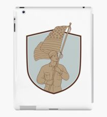 American Soldier Waving USA Flag Crest Drawing iPad Case/Skin