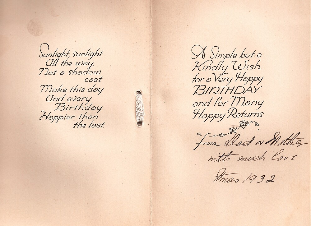 Birthday Card inlay 1932 by Patrick Ronan