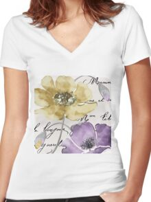 Fleurs de France Yellow Women's Fitted V-Neck T-Shirt