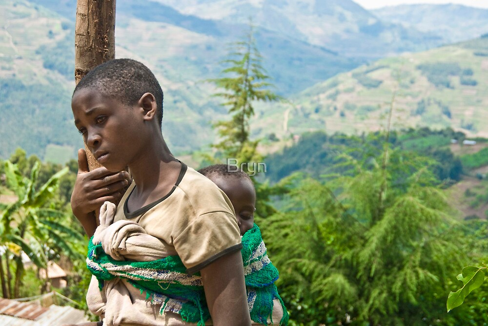 Rwandan girl on the side of the road by Bryn