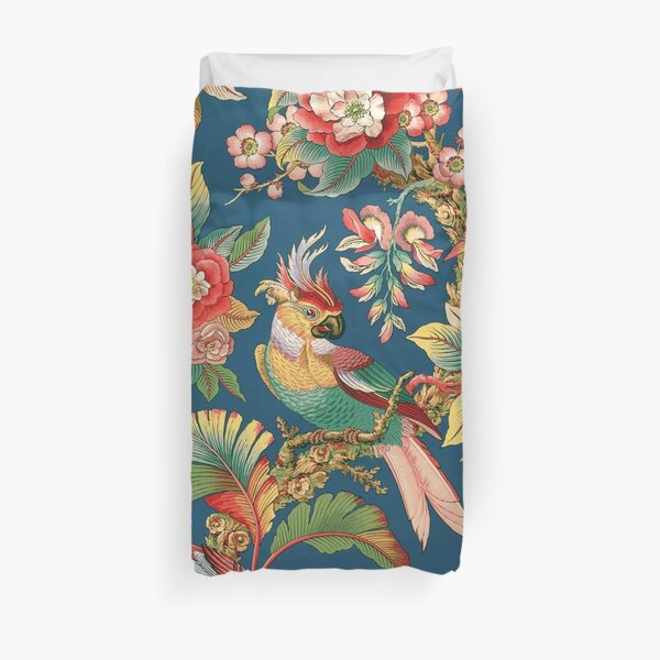 Antique French Chinoiserie in Blue Duvet Cover