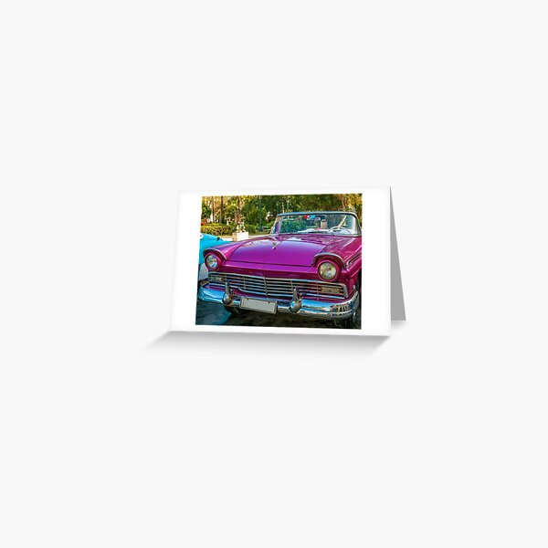 A bright pink car is a fashion in Cuba! Greeting Card