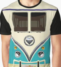 kawaii Blue teal love bug mini bus Graphic T-Shirt