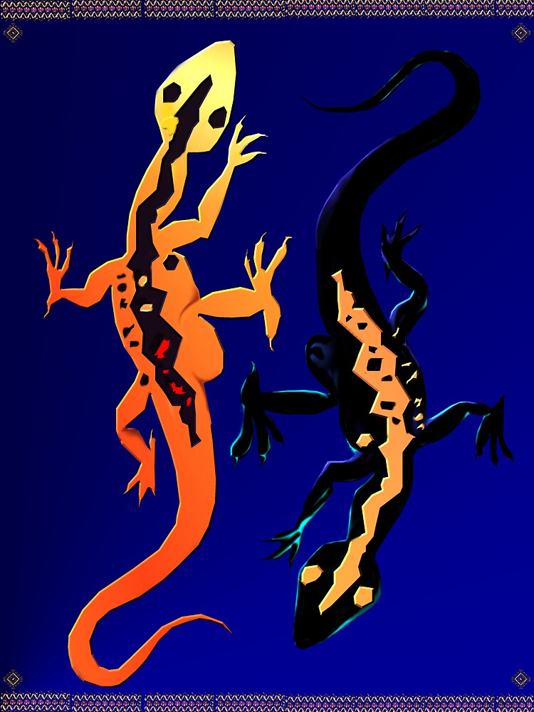 Two Lizards Poster by Lotacats