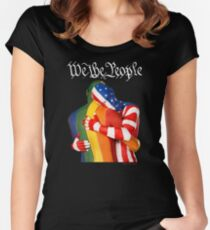 We The People (to print on dark colors) Women's Fitted Scoop T-Shirt