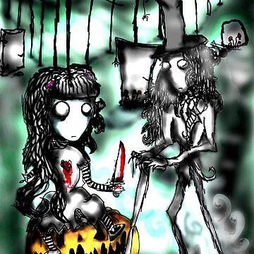 Halloween at the Graveyard by BleedingArt