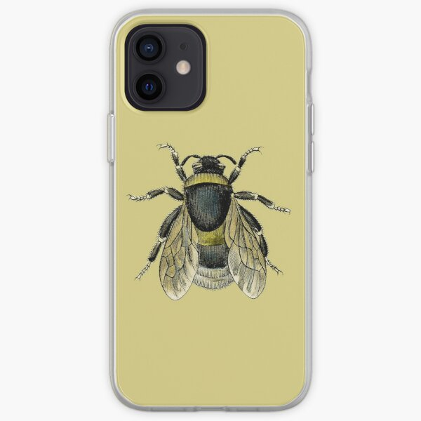antique typographic vintage honey bee iPhone Soft Case