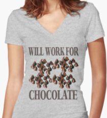Chocolate T-Shirt Women's Fitted V-Neck T-Shirt