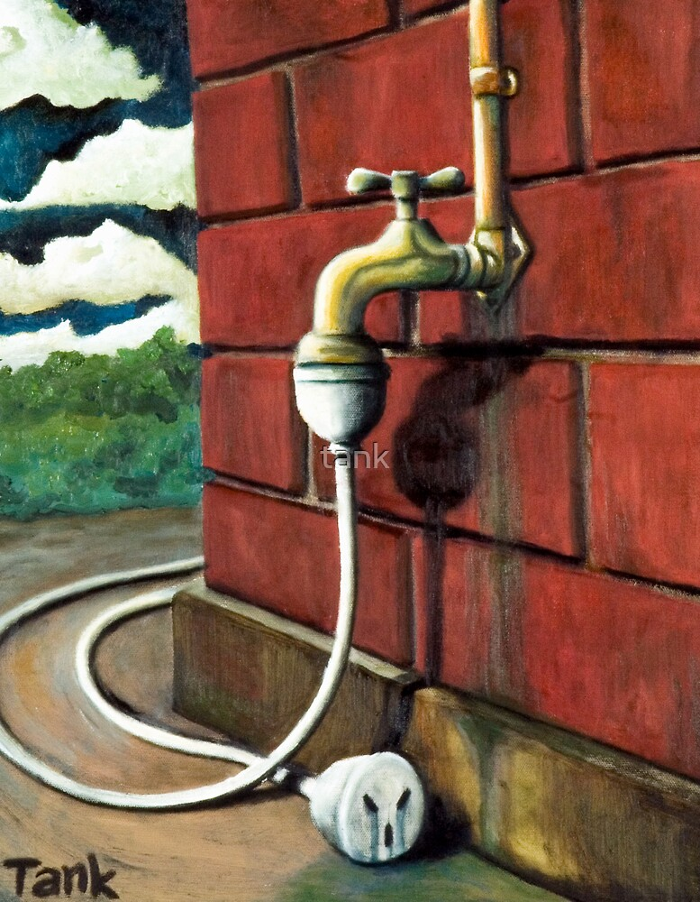 the leaking tap by tank