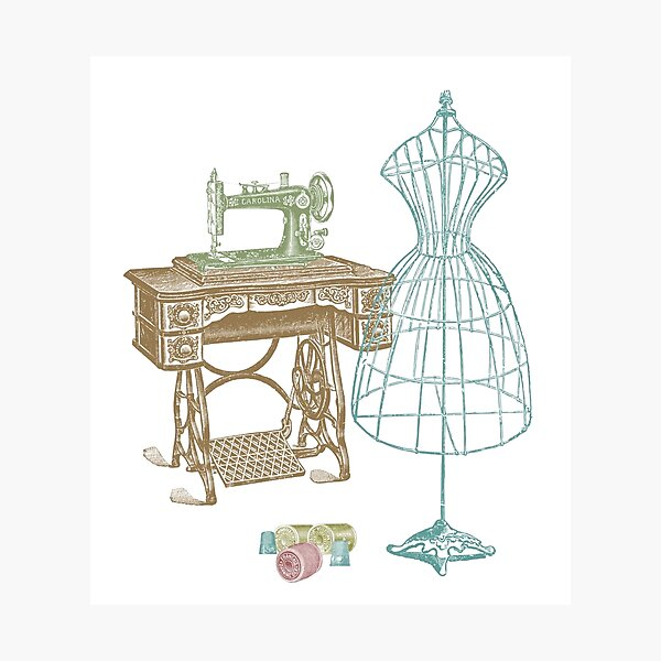Dressmaker Kit of Dress Form, Sewing Machine and T Photographic Print