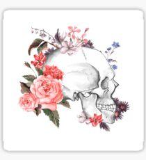 Floral Skull White Sticker