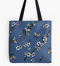 Manuka with Bees on rich blue Tote Bag