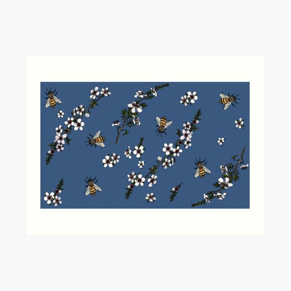 Manuka with Bees on rich blue Art Print