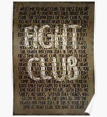 Fight Club - Rules Minimal Typo Poster  Poster
