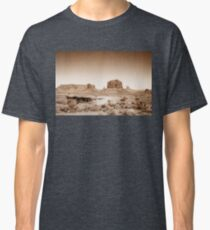 Vintage, artistic concept showing the old image of the unique natural structures in Monument Valley. Classic T-Shirt