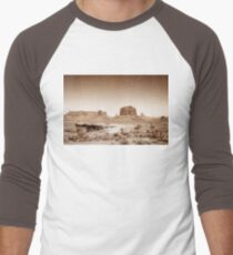 Vintage, artistic concept showing the old image of the unique natural structures in Monument Valley. Men's Baseball ¾ T-Shirt
