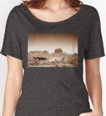 Vintage, artistic concept showing the old image of the unique natural structures in Monument Valley. Women's Relaxed Fit T-Shirt