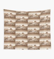 Vintage, artistic concept showing the old image of the unique natural structures in Monument Valley. Wall Tapestry