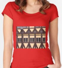 Traditional decorated house in Denmark Women's Fitted Scoop T-Shirt