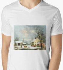 George Henry Durrie - Winter In The Country1857 Men's V-Neck T-Shirt