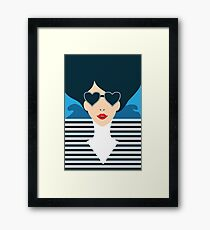 Stylish beautiful model for fashion design. Art deco graphic illustration. Portrait of pretty girl on sea. Elegant striped vector style. Framed Print