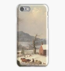 George Henry Durrie - Red School House . Country Scene  iPhone Case/Skin
